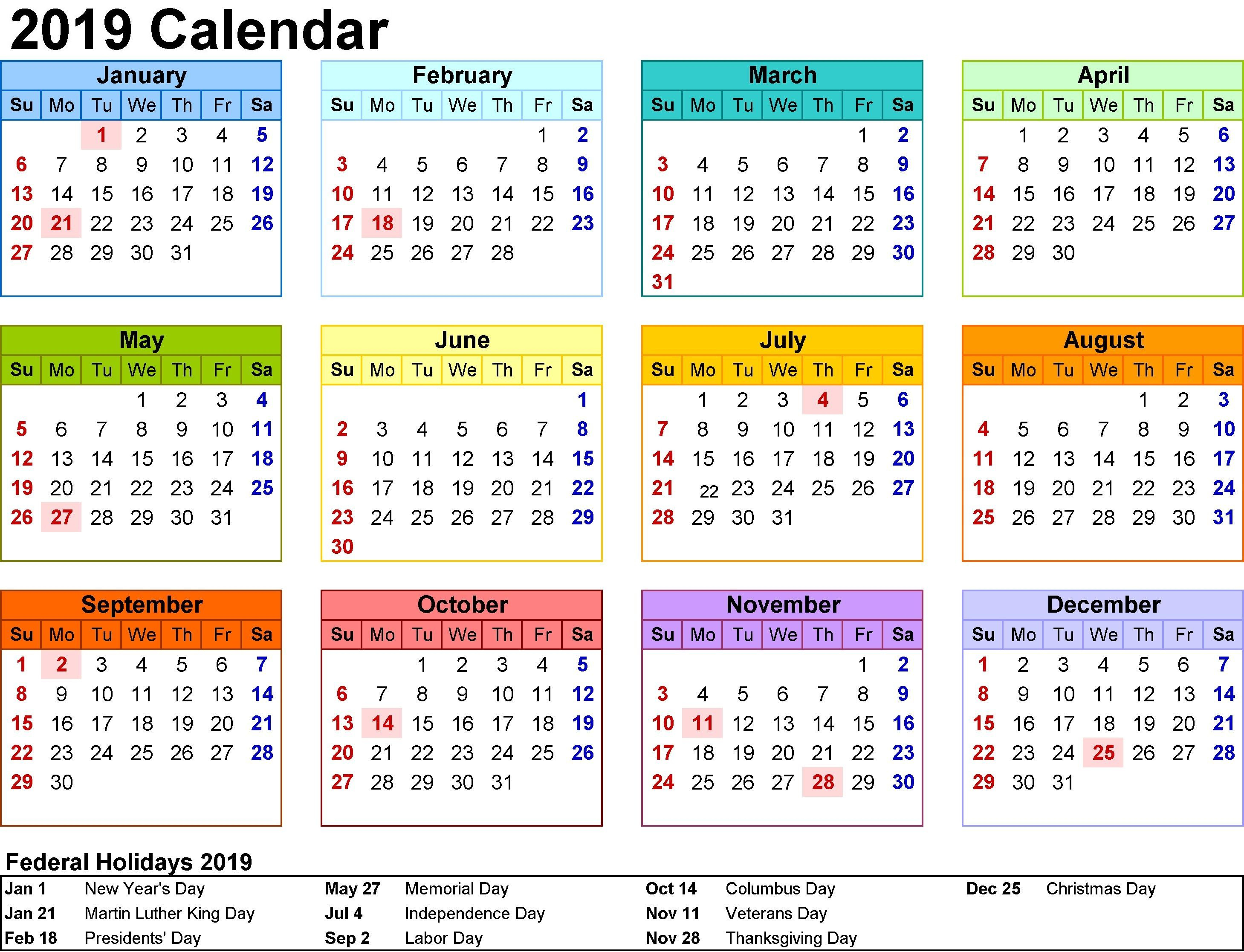 2019 Calendar Printable Usa #calendar2019 #printablecalendar