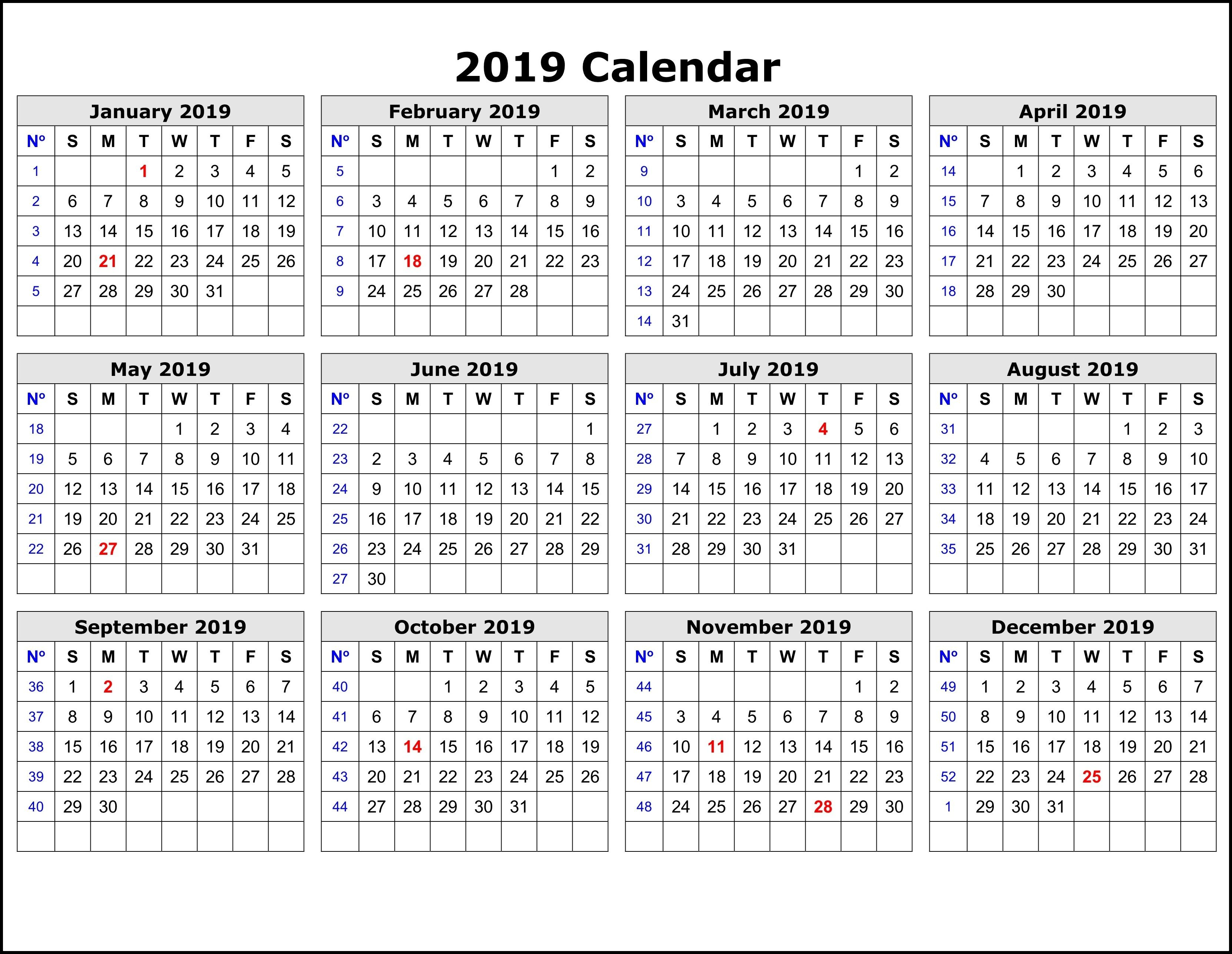 2019 Calendar Templateweek   2019 Calendar Template In