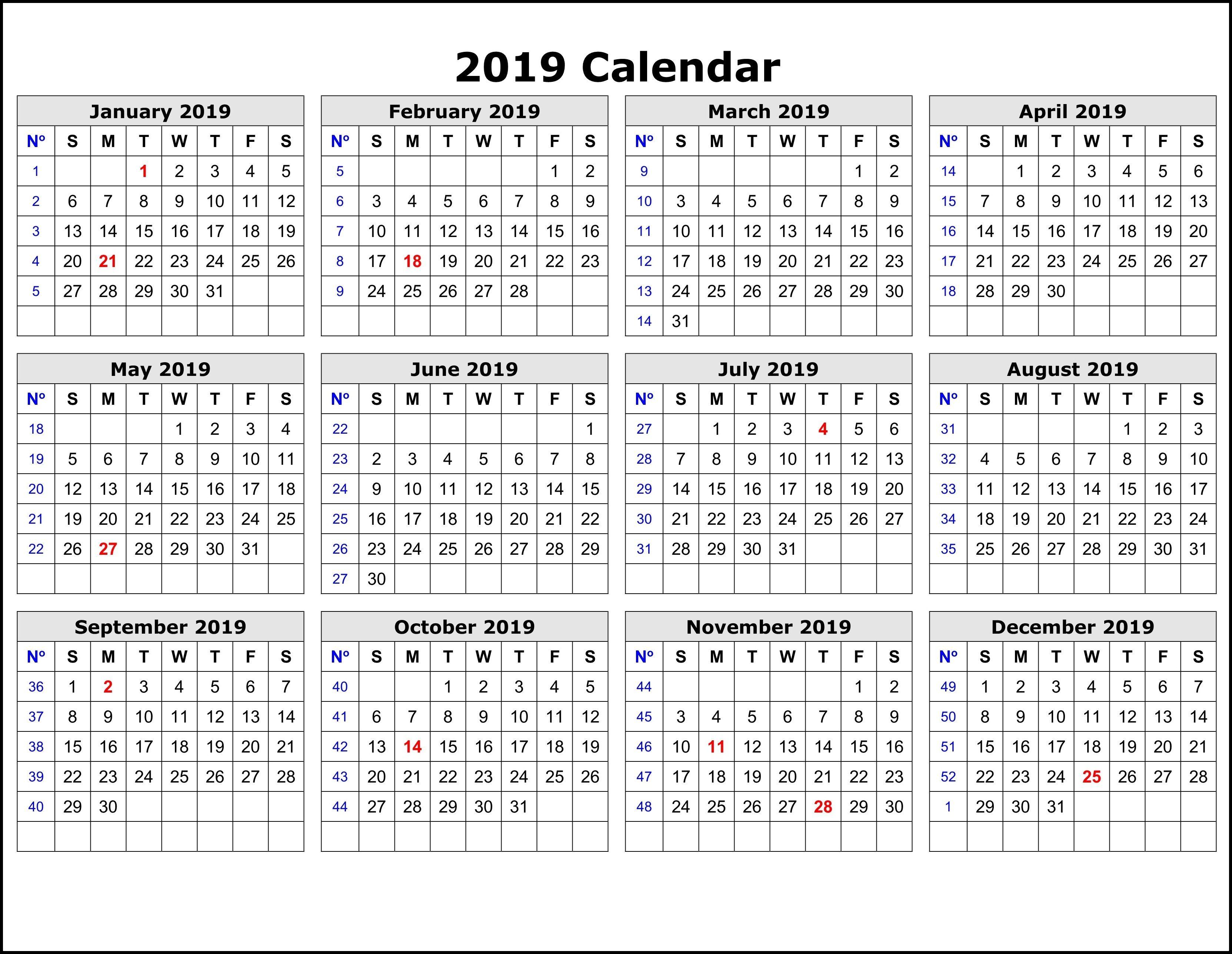 2019 Calendar Templateweek | 2019 Calendar Template In