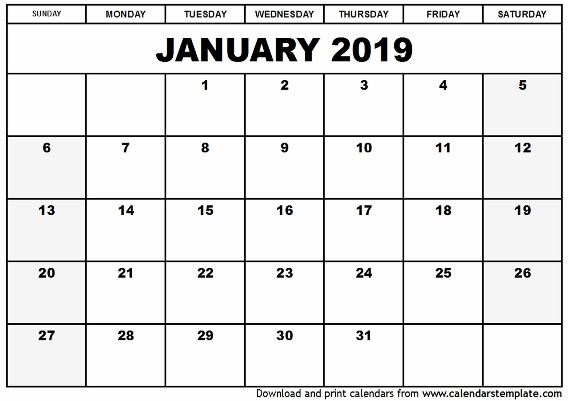 2019 Calendar With Blank Notes | Free Printable 2018