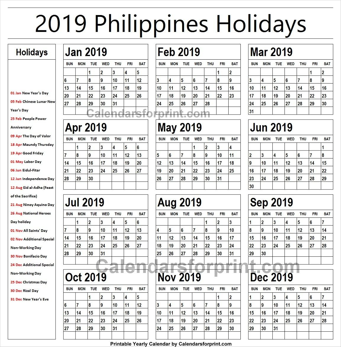 2019 Calendar With Holidays Philippines Printable | Holidays