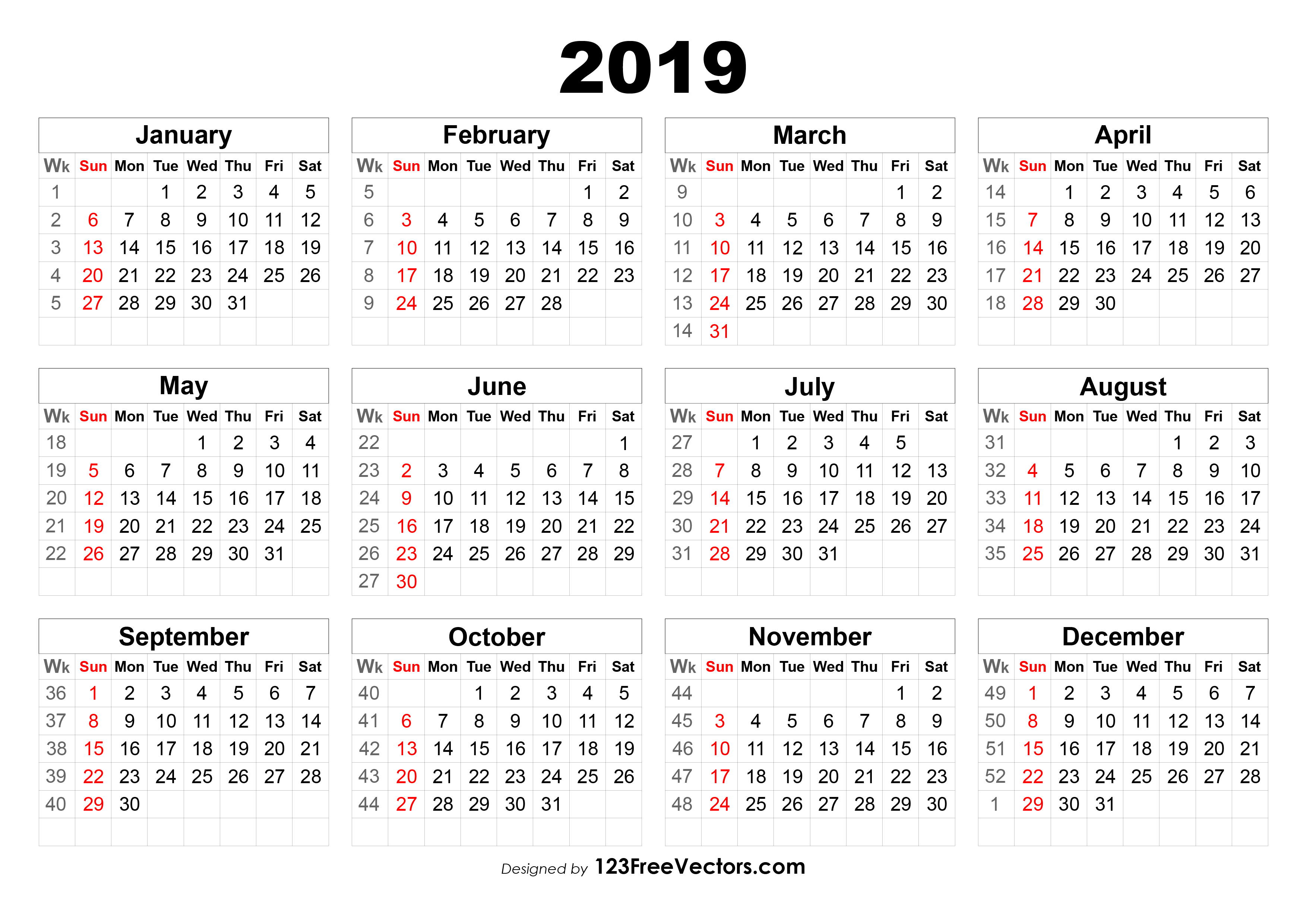2019 Calendar With Week Numbers
