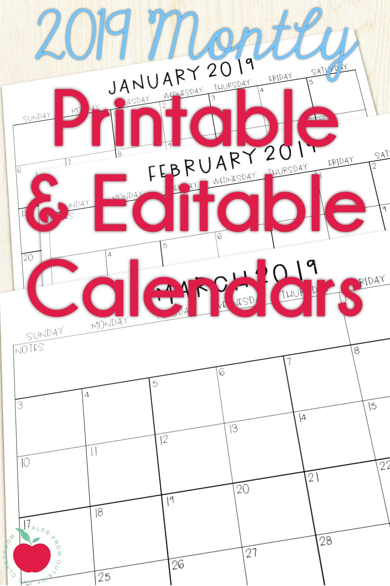 2019 Calendars For The Classroom | Fantastically Free