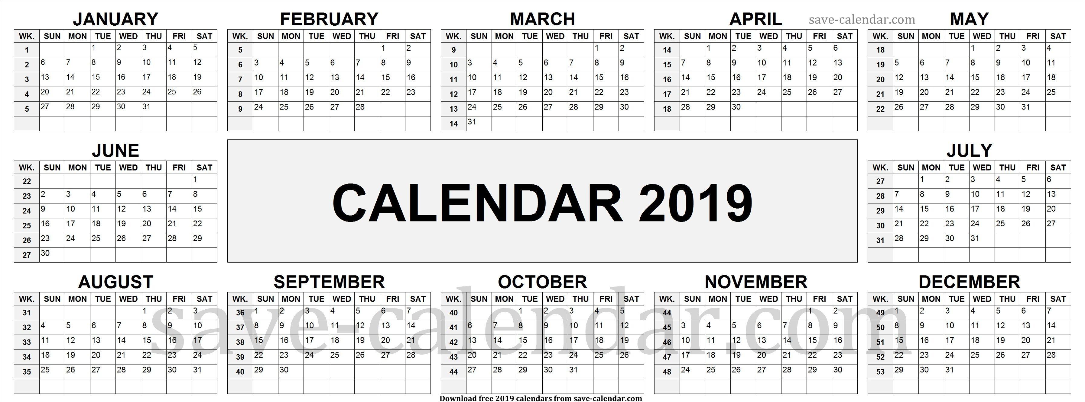 2019 Calendarweek Numbers | Calendar 2019 With Week