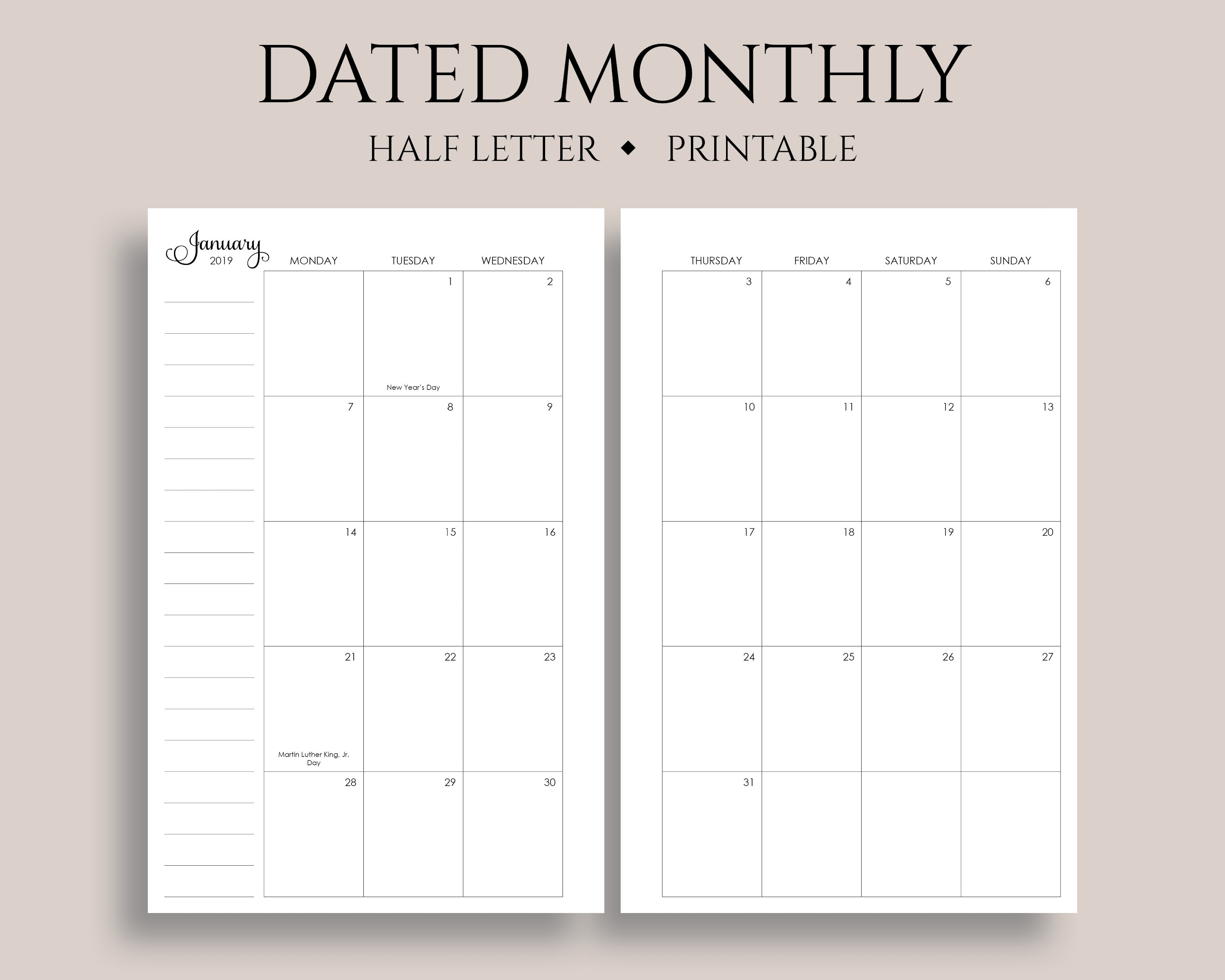 2019 Dated Monthly Calendar Printable Planner Inserts Monday