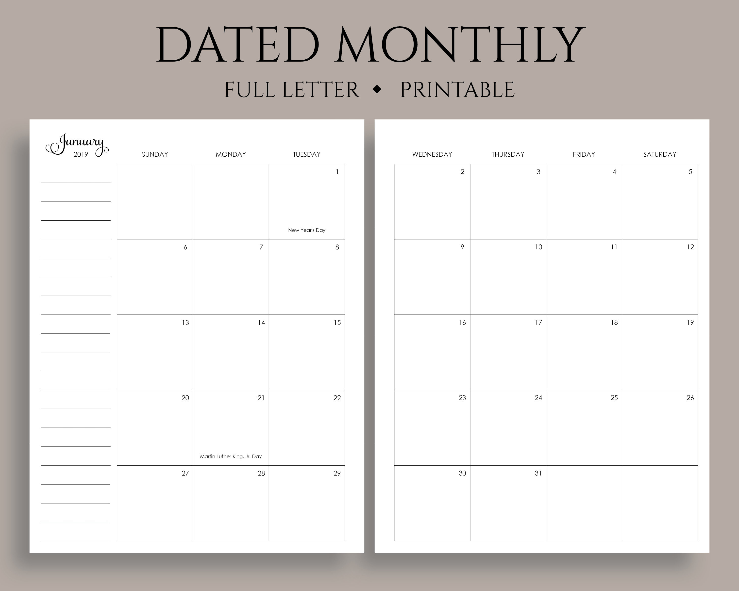 """2019 Dated Monthly Calendar Printable Planner Inserts, Sunday Start, Mo2P,  U.s. Holidays ~ Full Letter / 8.5"""" X 11"""" Pdf Download"""