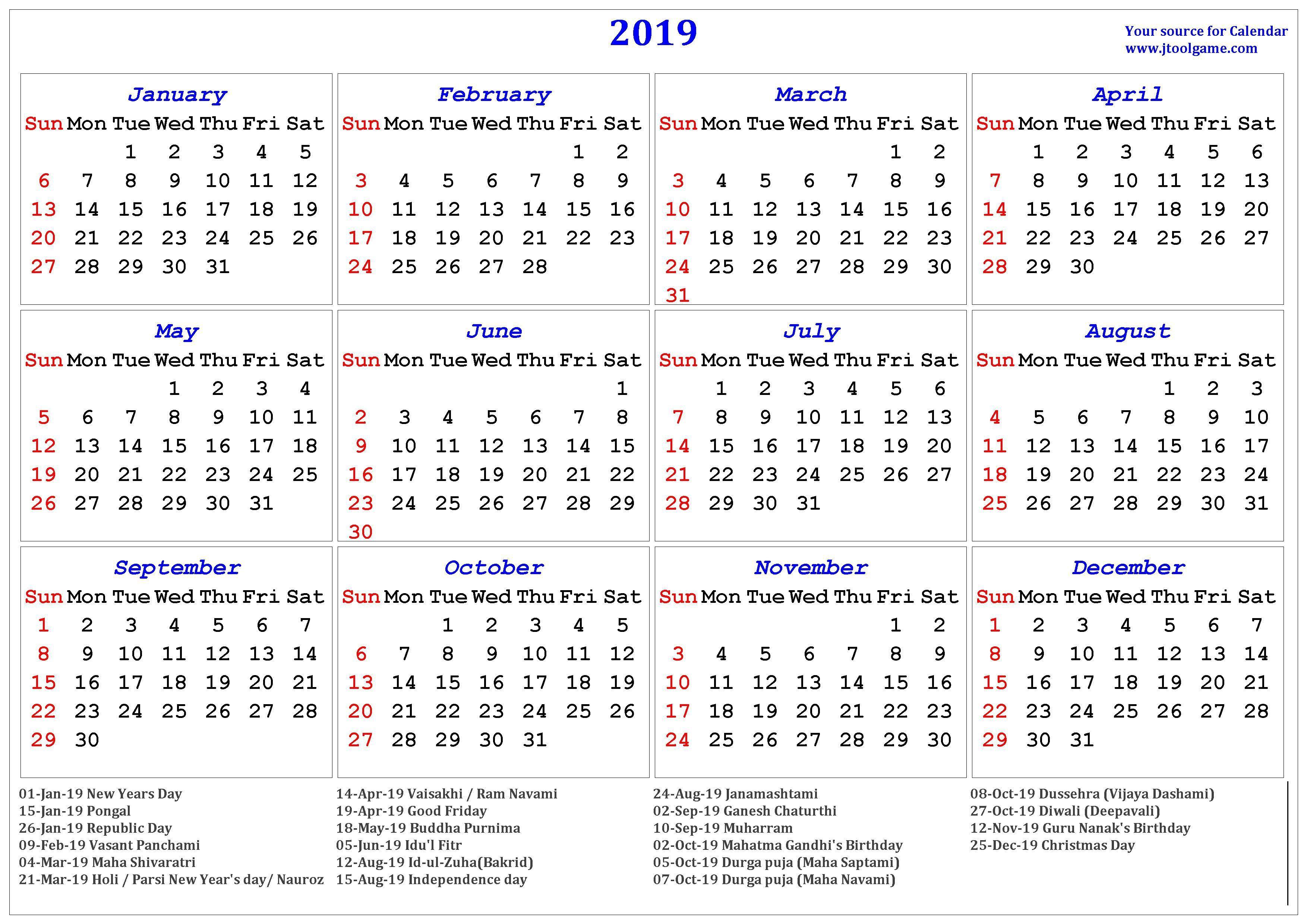 2019 Hindu Calendar With Tithi | Tyohar, Holidays, Festivals