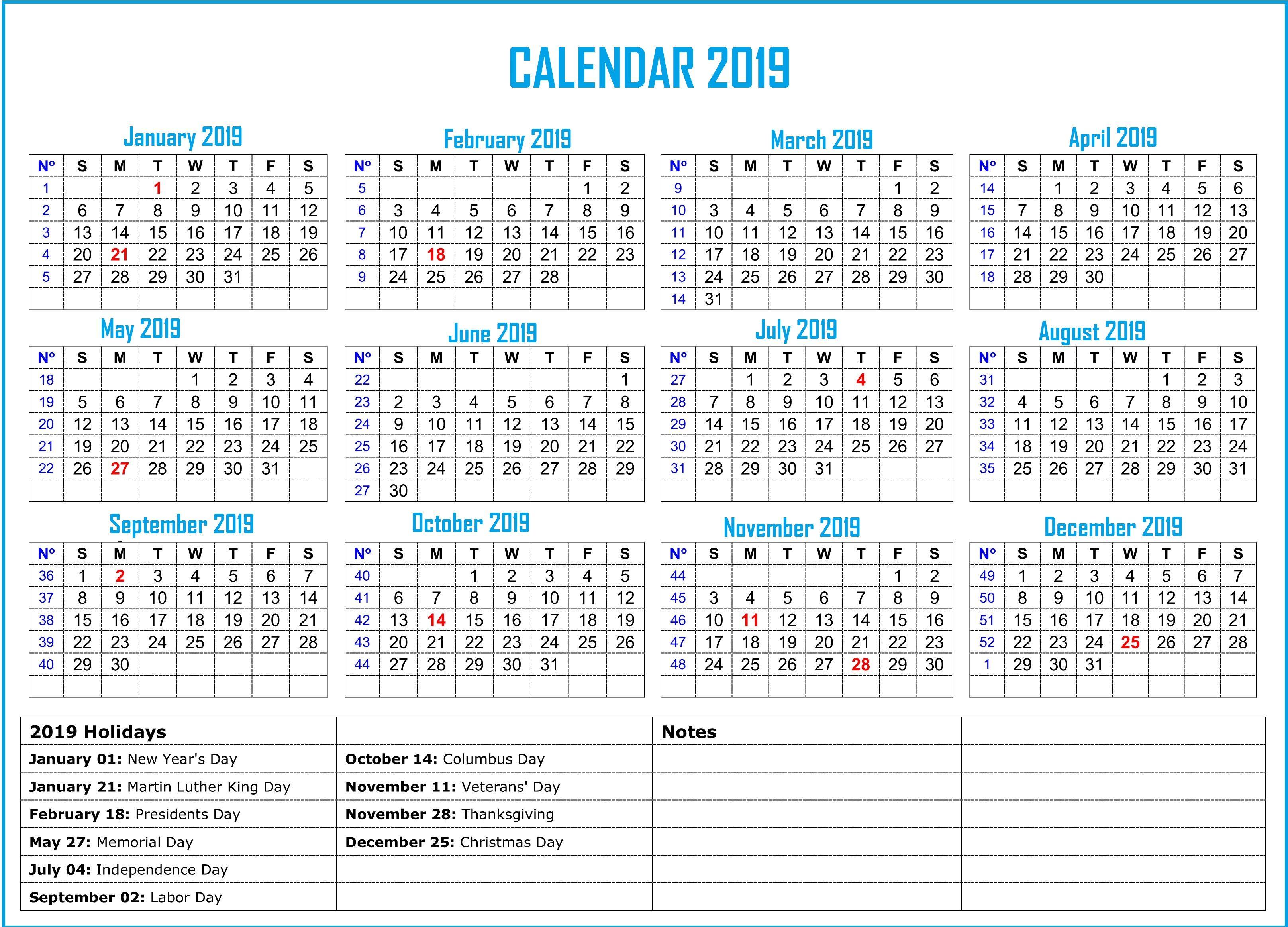 2019 Holidays Calendar | Monthly Calendar Templates | Us