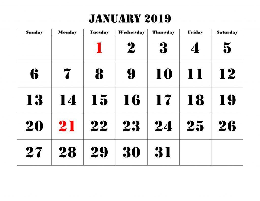2019 January Christmas Countdown Calendar #printable | Blank