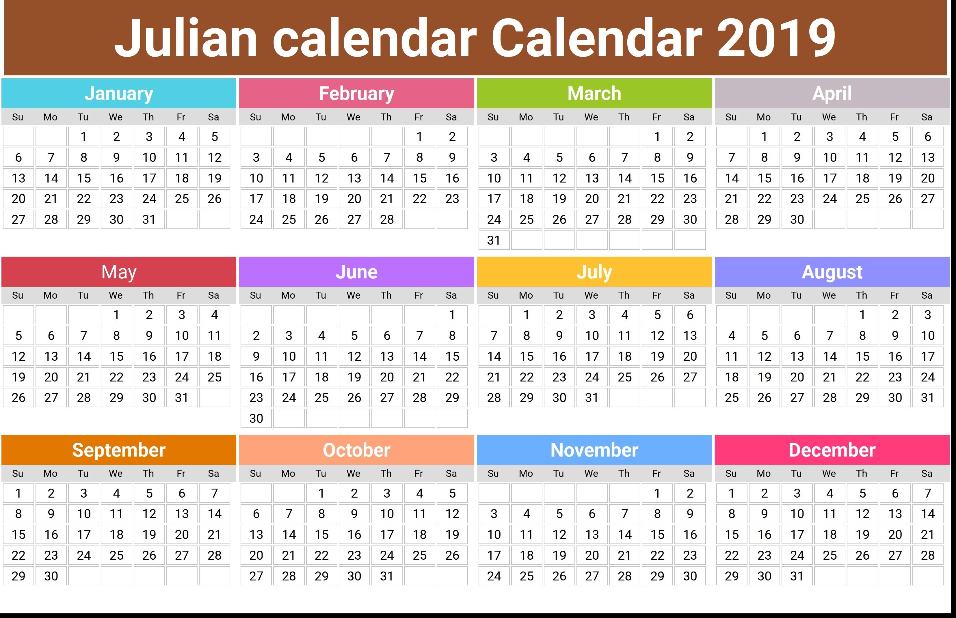 2019 Julian Calendar Printable   Isacl