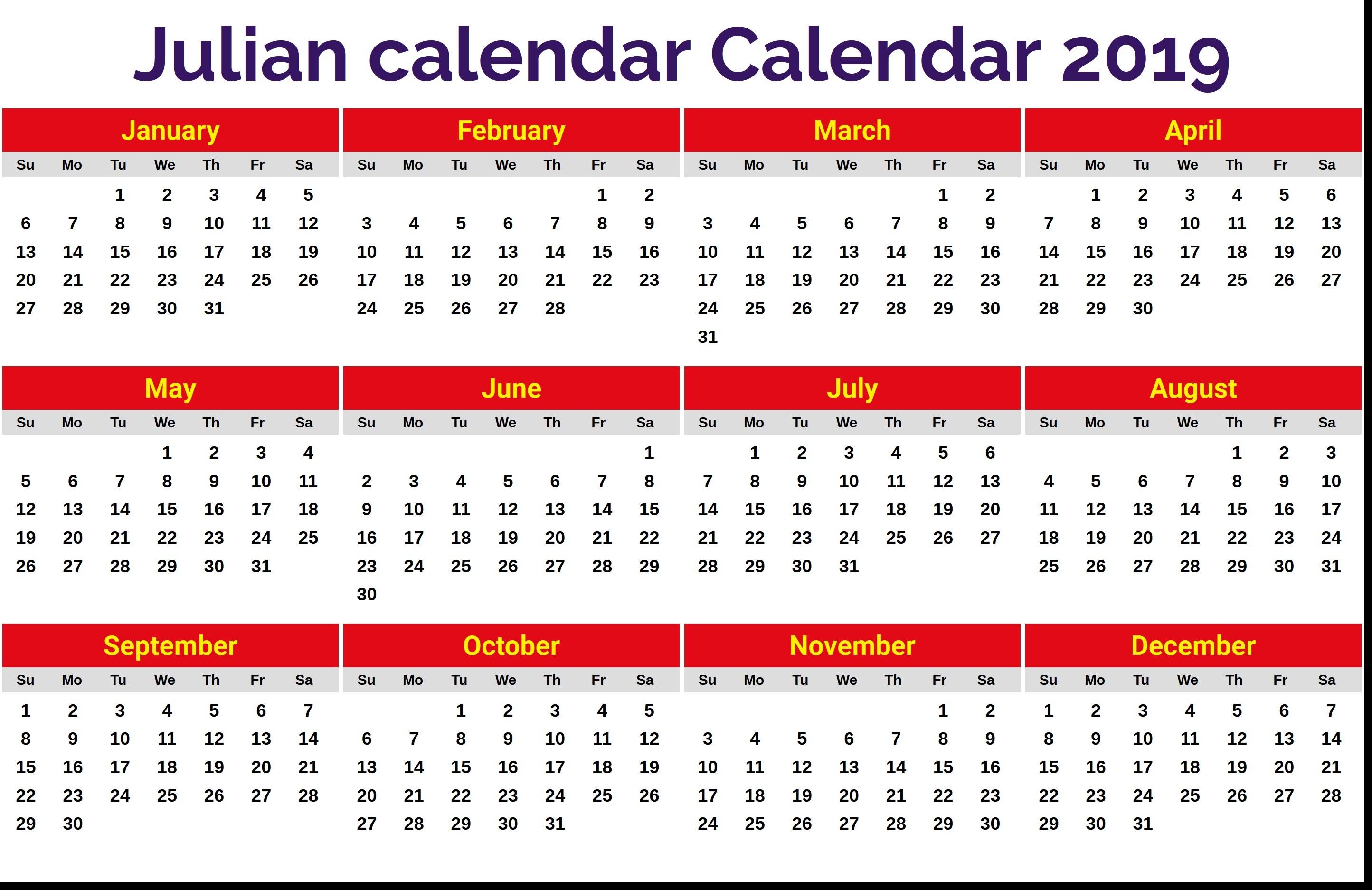 2019 Julian Date Calendar Printable Julian Calendar 2019