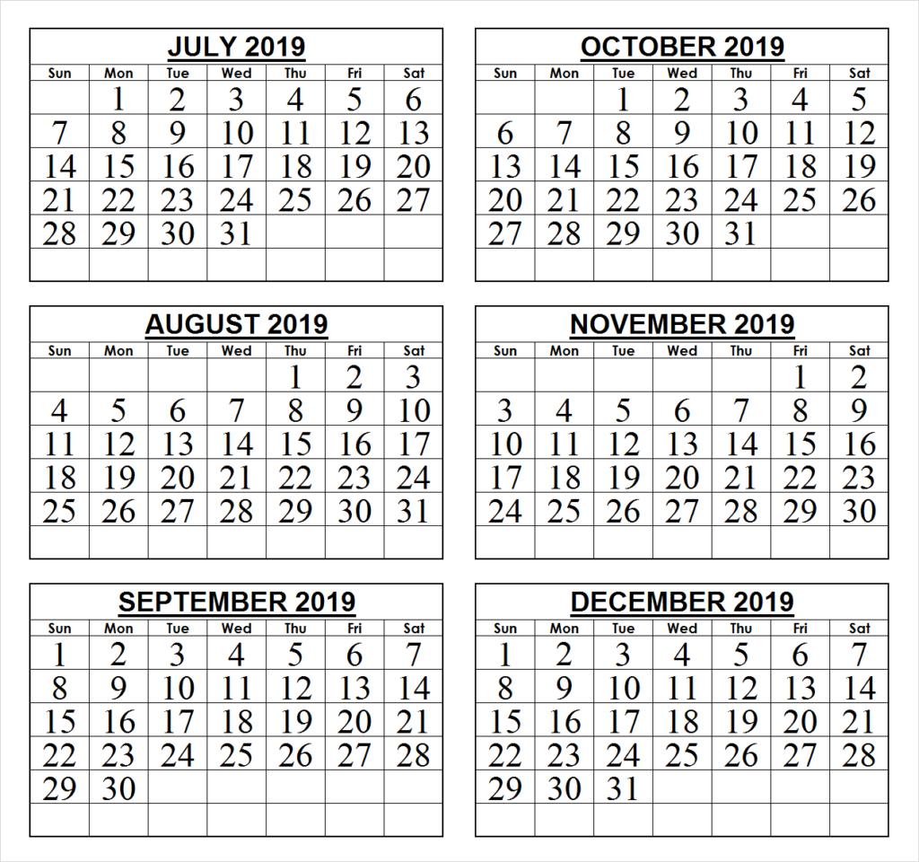 2019 Last 6 Months Calendar | 2019 Calendars | June 2019