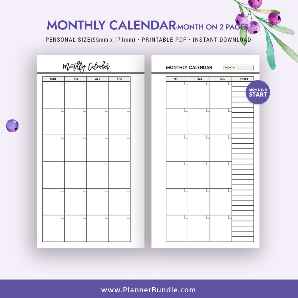 2019 Monthly Calendar, Month On 2 Pages, 2019 Printable Page, Personal  Size, Refill, Filofax Personal, Instant Download, Planner Pages, Planner