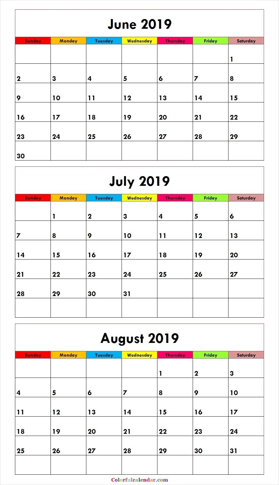 2019 Monthly Calendar Printable For June July And August