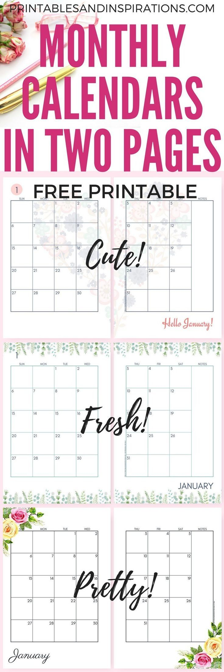 2019 Monthly Calendar Two Page Spread - Free Printable