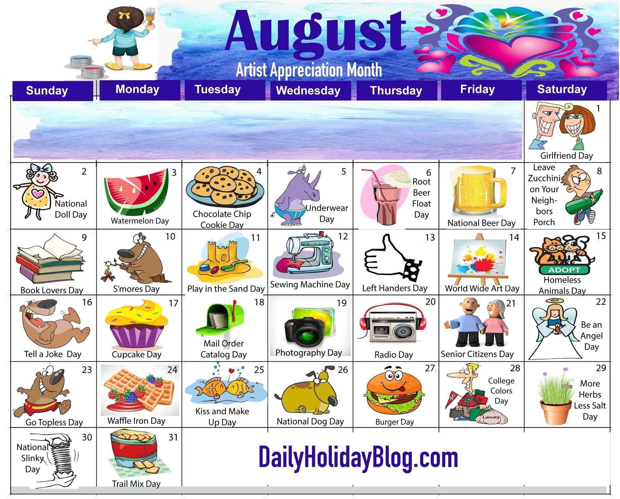2019 National Days List July   Calendar Template