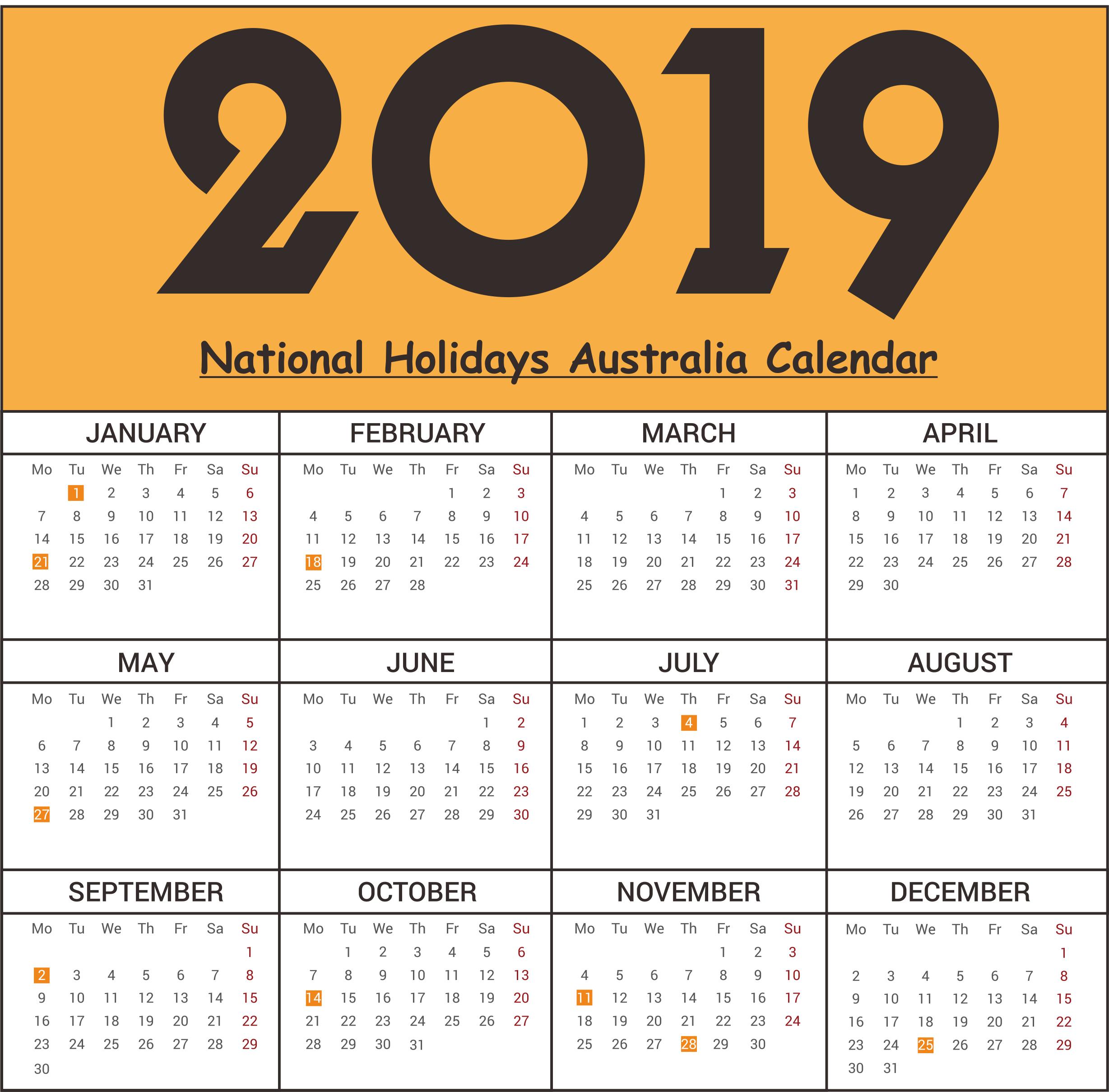 2019 National Holidays Australia Calendar #2019Calendar