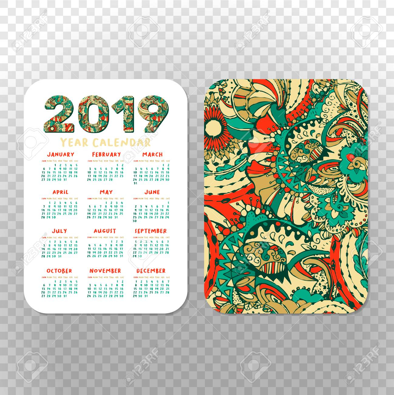 2019 Pocket Calendar Basic Grid. Vector Vertical Orientation