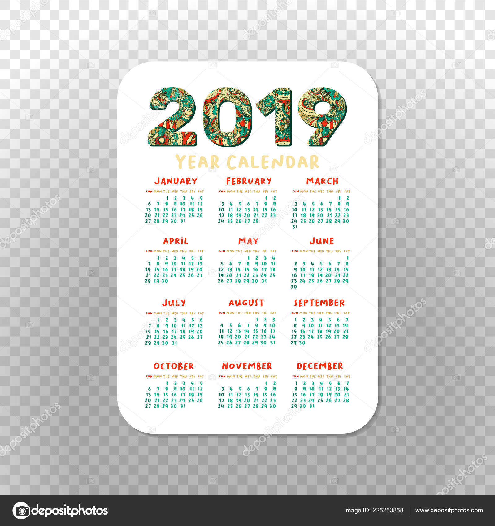 2019 Pocket Calendar Basic Grid Vector Vertical Orientation
