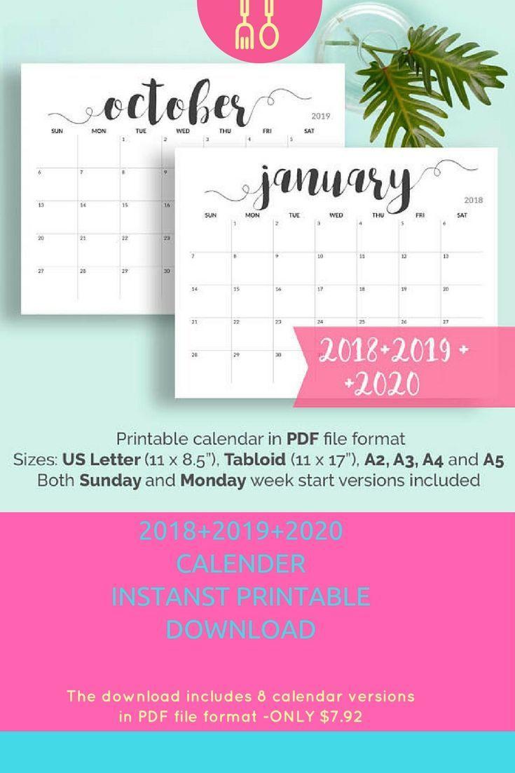 2019 Printable Calendar 2019-2020 Calendar Printable Large