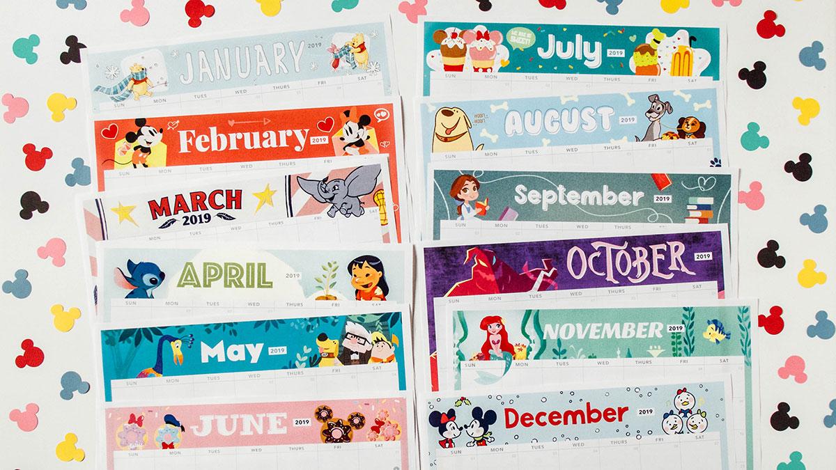 2019 Printable Calendar Featuring Disney Art | Disney Family