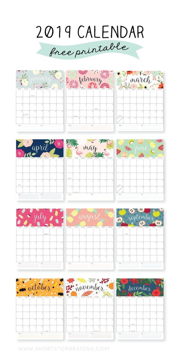 2019 Printable Calendar | Free Printables | Calendar 2019