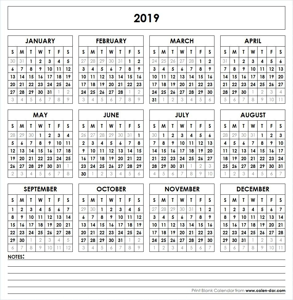 2019 Printable Calendar | Yearly Calendar | Printable Yearly