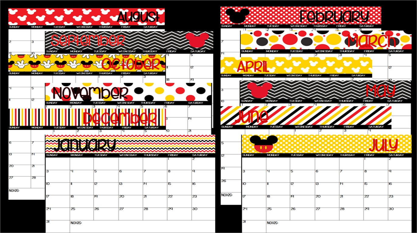 2019 Printable Mickey Mouse Disney Themed Calendar-Instant Download