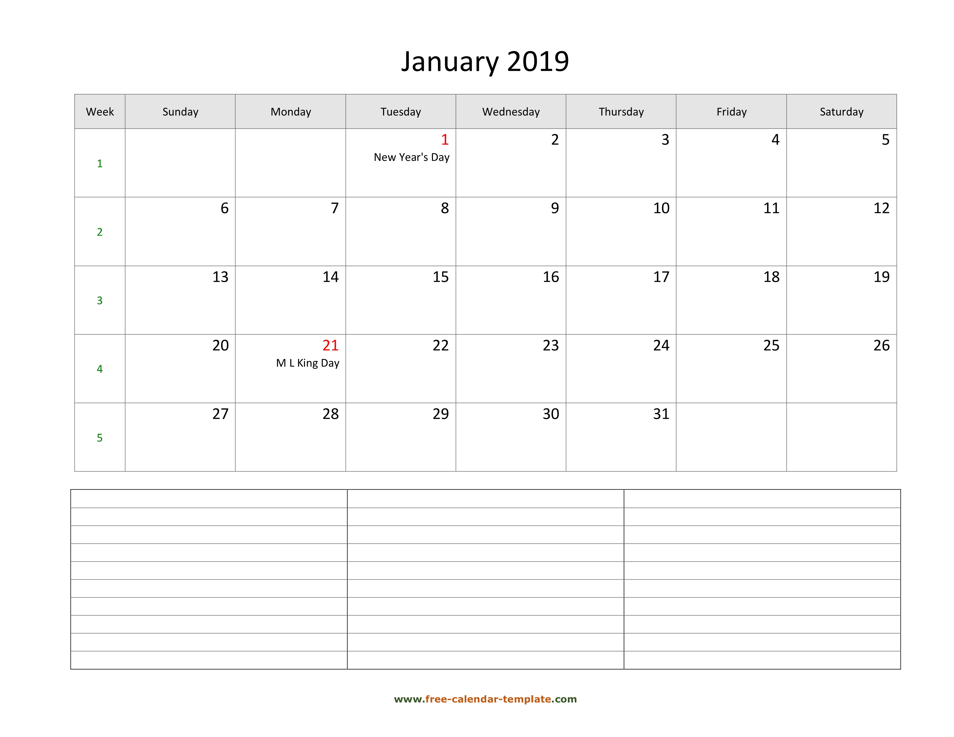 2019 Printable Monthly Calendar With Space For Appointments
