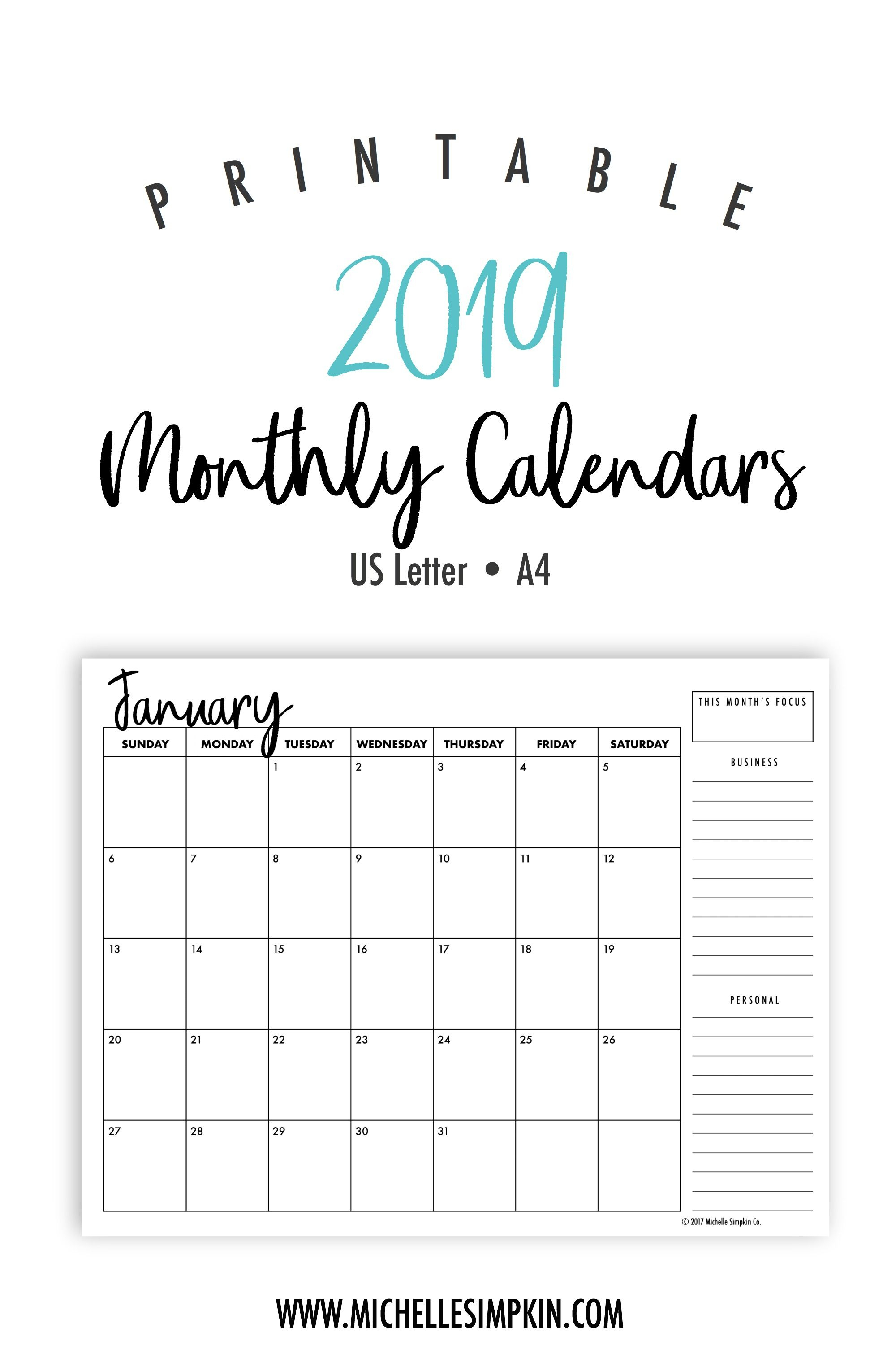 2019 Printable Monthly Calendars • Landscape • Us Letter