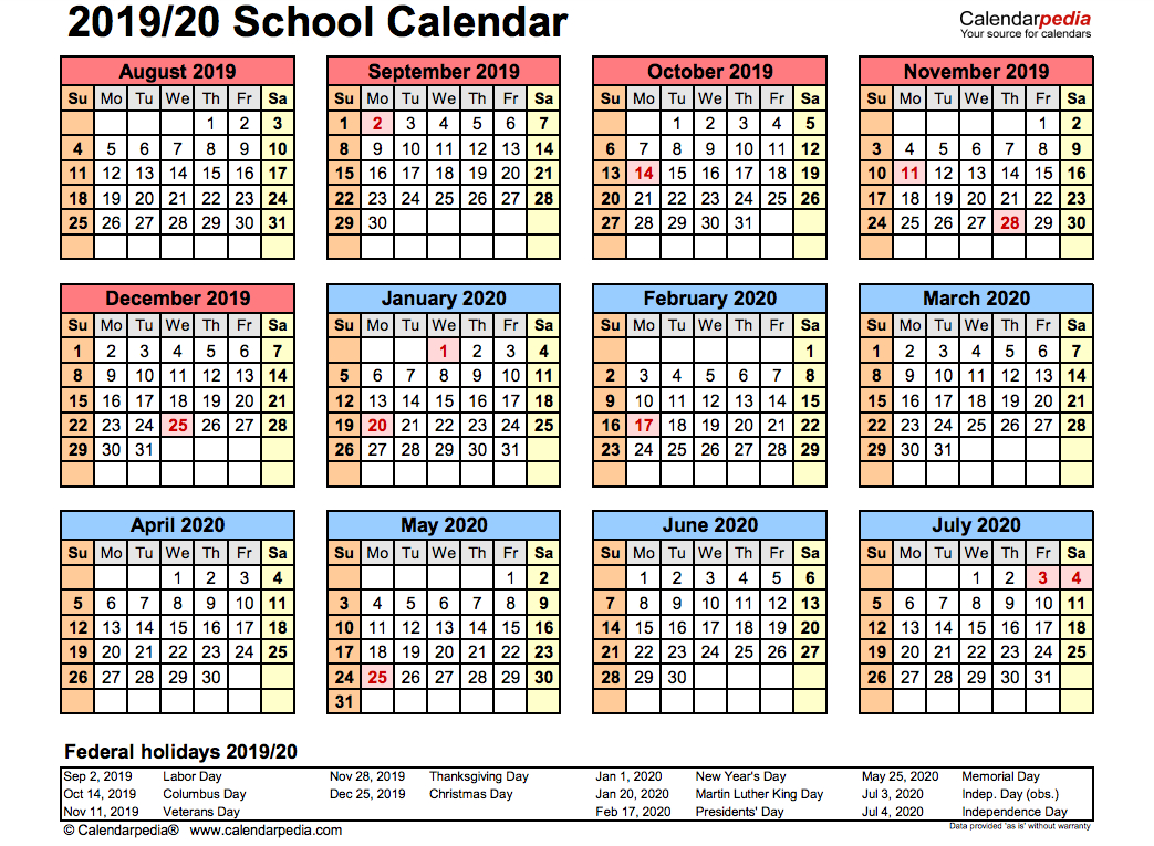 2019 School Calendar Printable | Academic 2019/2020