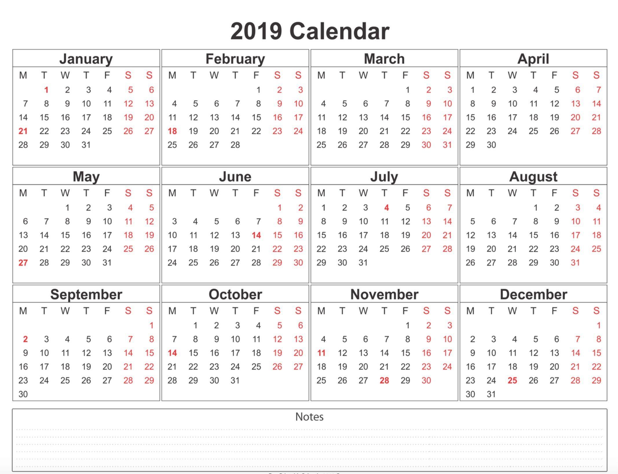 2019 Weekly Calendar Printable | 2019 Calendars | Calendar