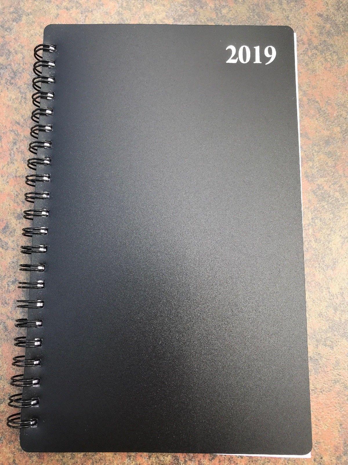 """2019 Weekly Monthly Spiral Planner Calendar Organizer Agenda Black 5"""" X 8"""""""