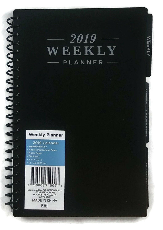 """2019 Weekly Monthly Spiral Planner Calendar Organizer Agenda Purple 5"""" X 8"""""""