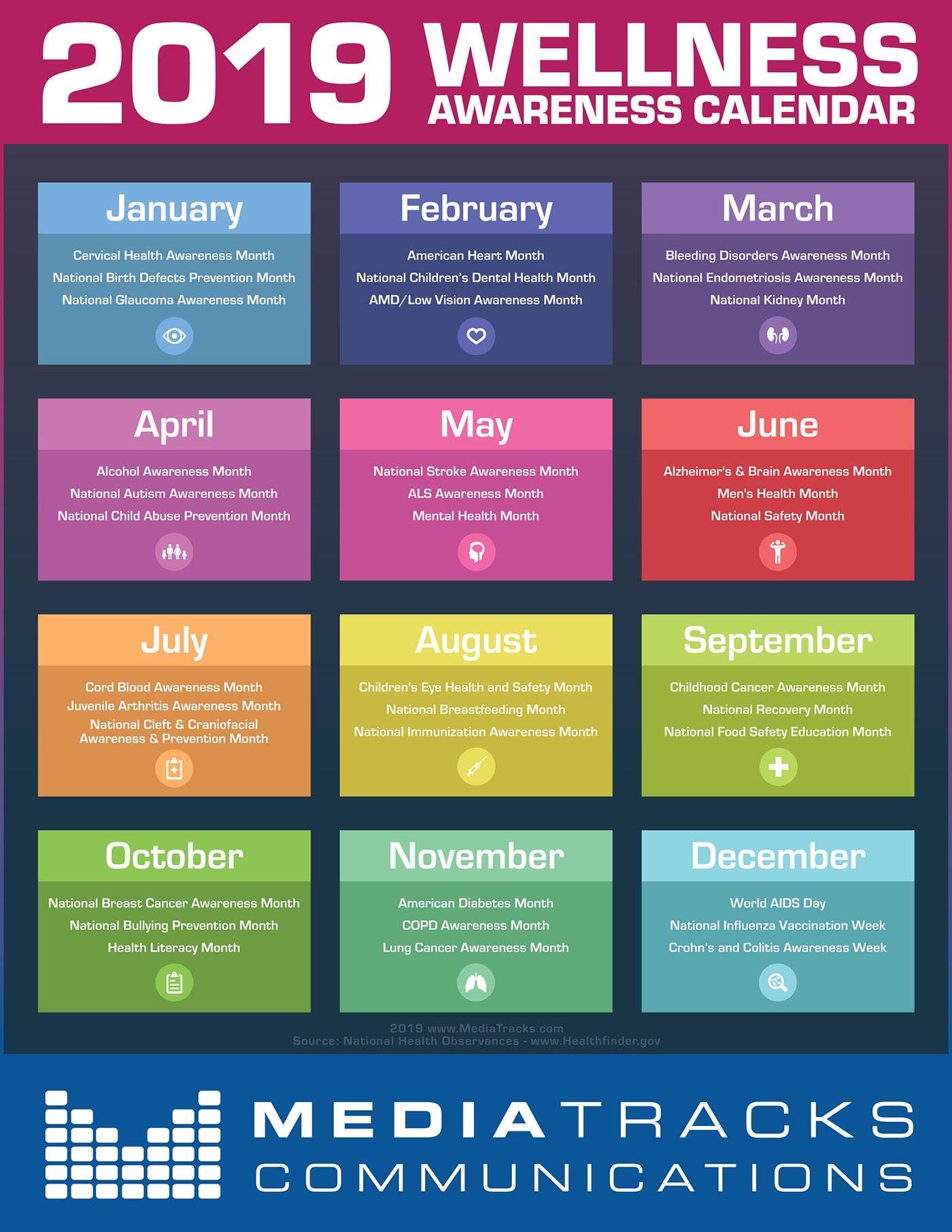 2019 Wellness Awareness Calendar [Infographic] - Mediatracks