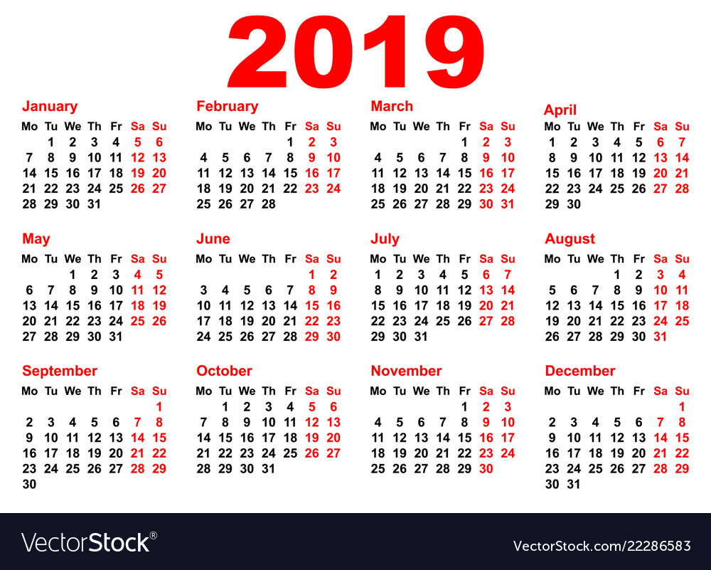 2019 Year Calendar Template Grid Pocket Horizontal
