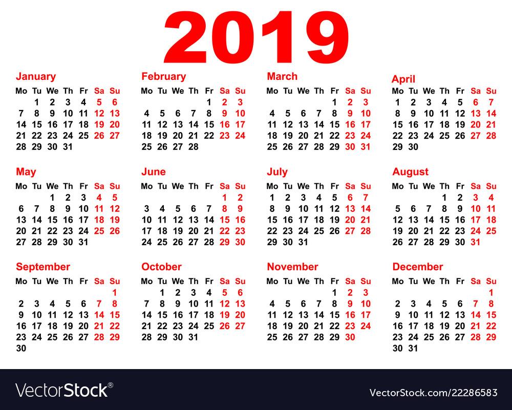 2019 Year Calendar Template Grid Pocket Horizontal