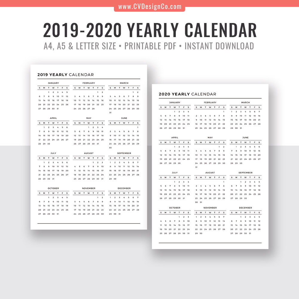 2019 Yearly Calendar And 2020 Yearly Calendar, 2019 - 2020 Yearly Calendar,  Digital Printable Planner Inserts. Filofax A5, A4, Letter Size