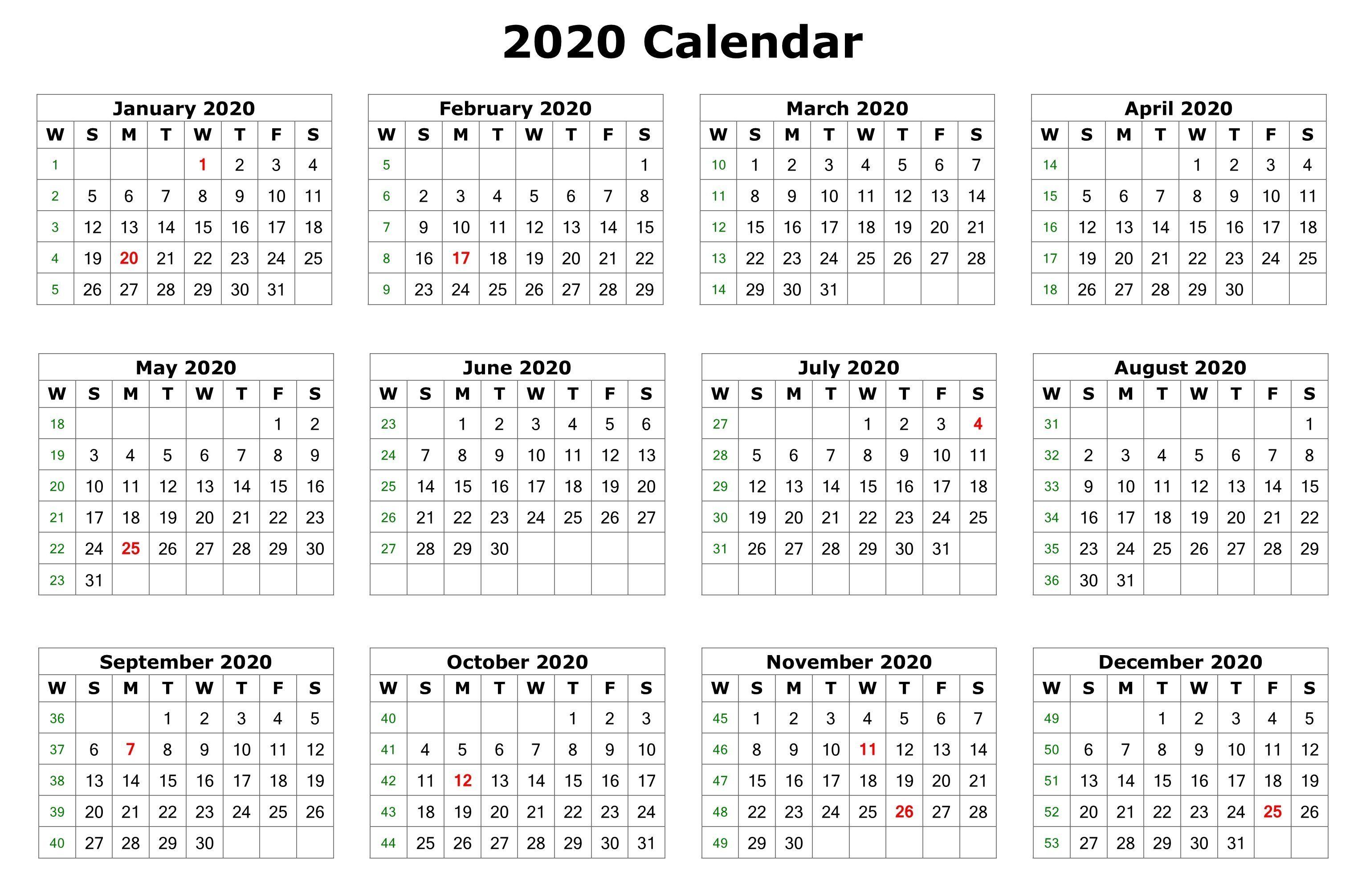 2020 12 Months Calendar Printable | 2020 Calendars