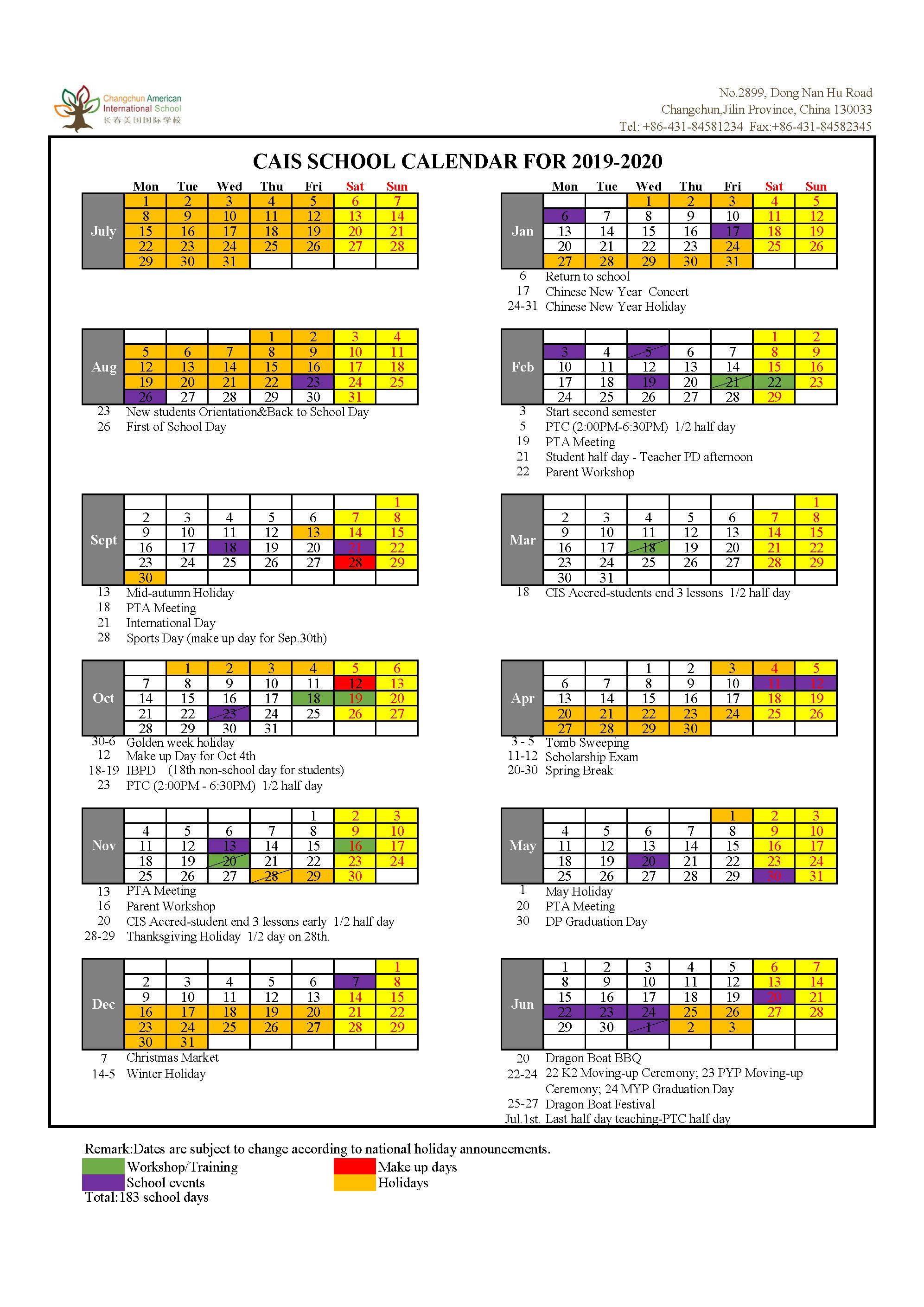 2020 18 School Calendar
