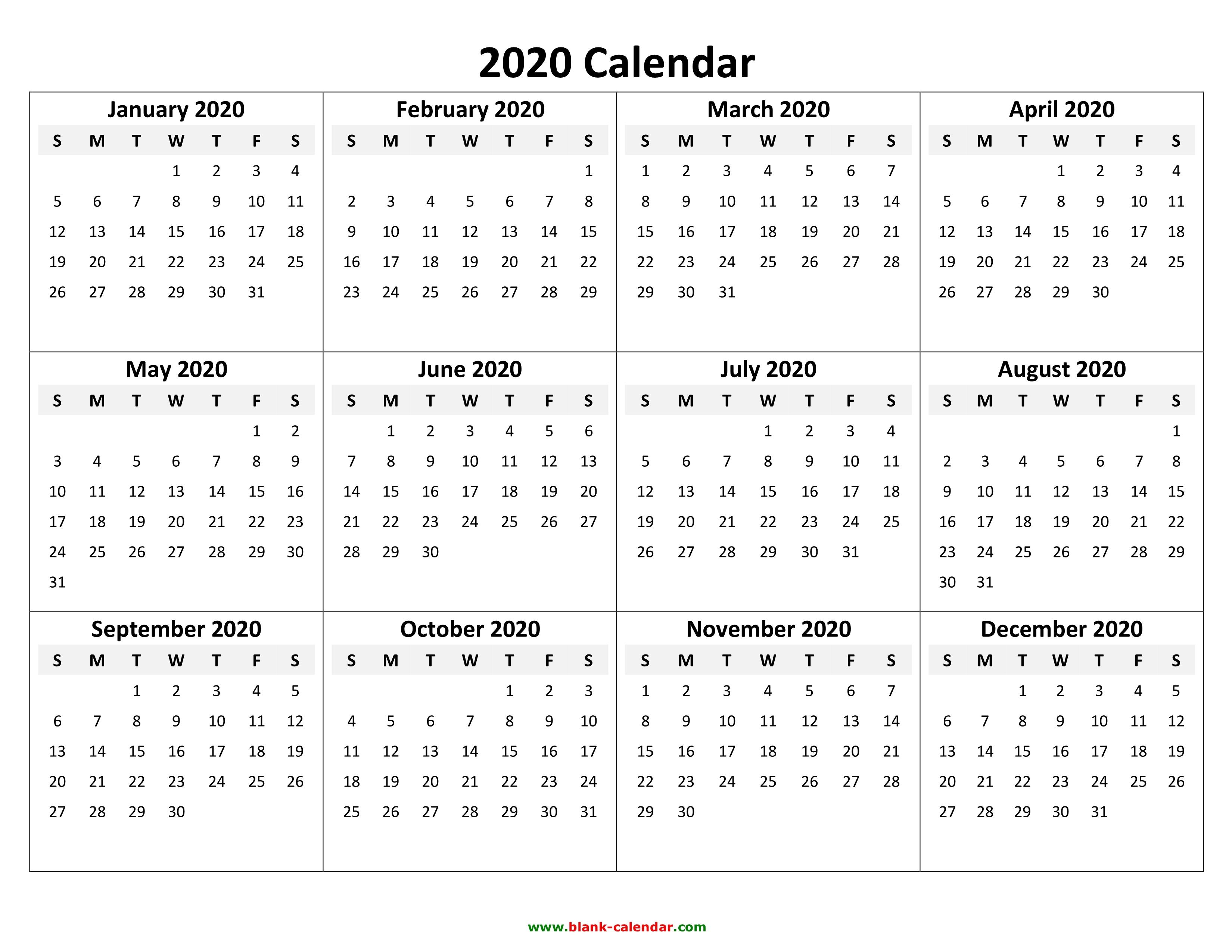 2020 2020 Calendar Printable | Isacl