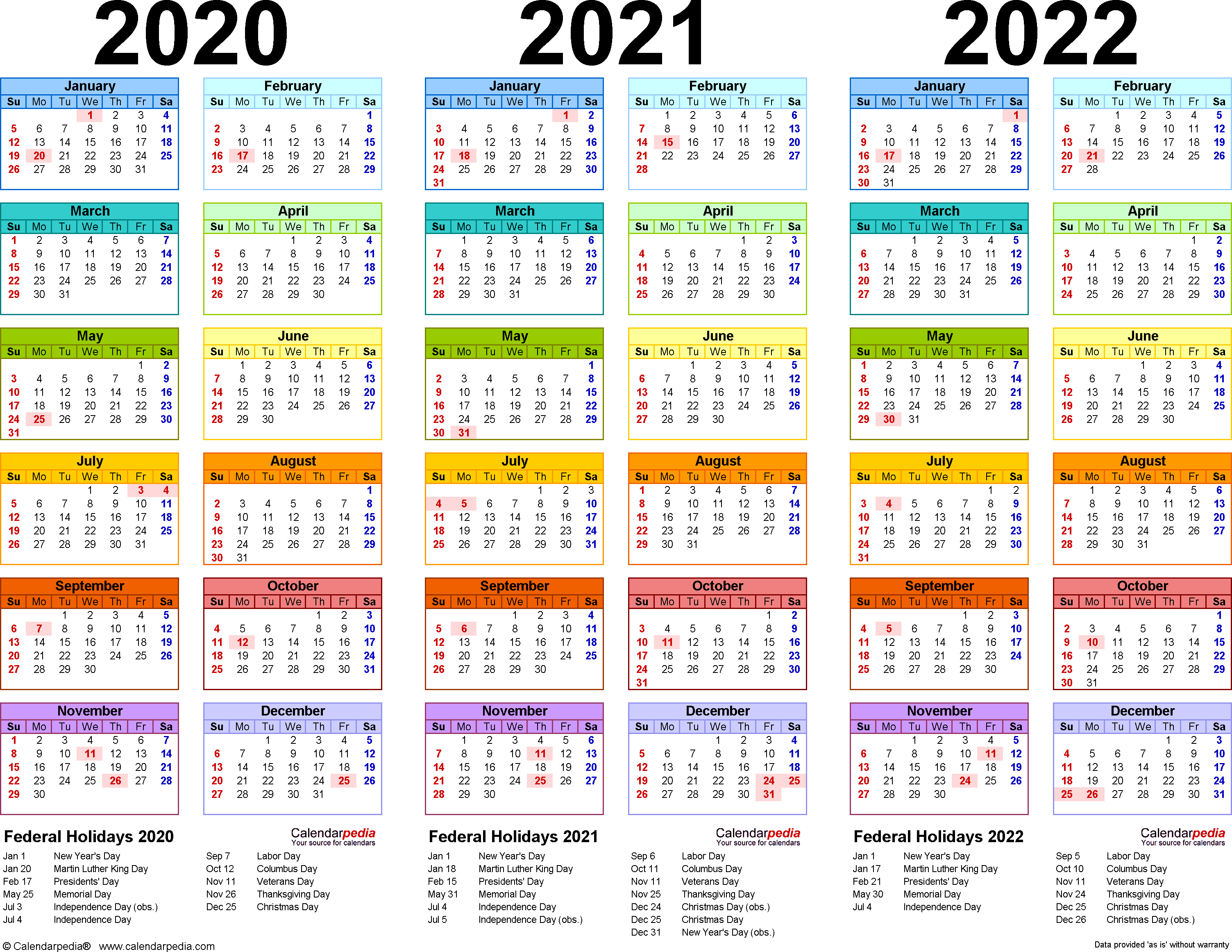2020/2021/2022 Calendar - 4 Three-Year Printable Excel Calendars