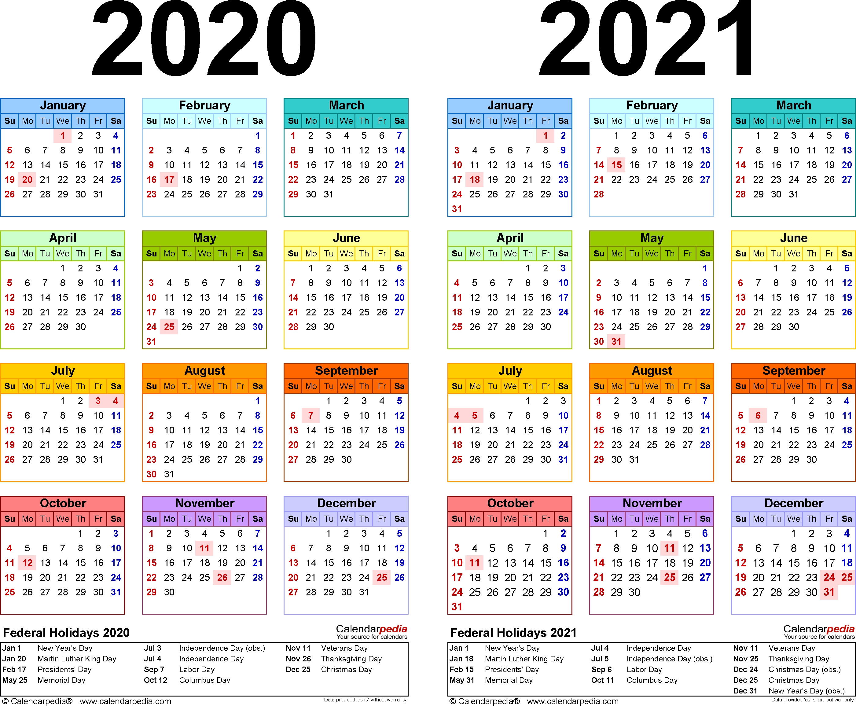 2020-2021 Calendar – Free Printable Two-Year Word Calendars