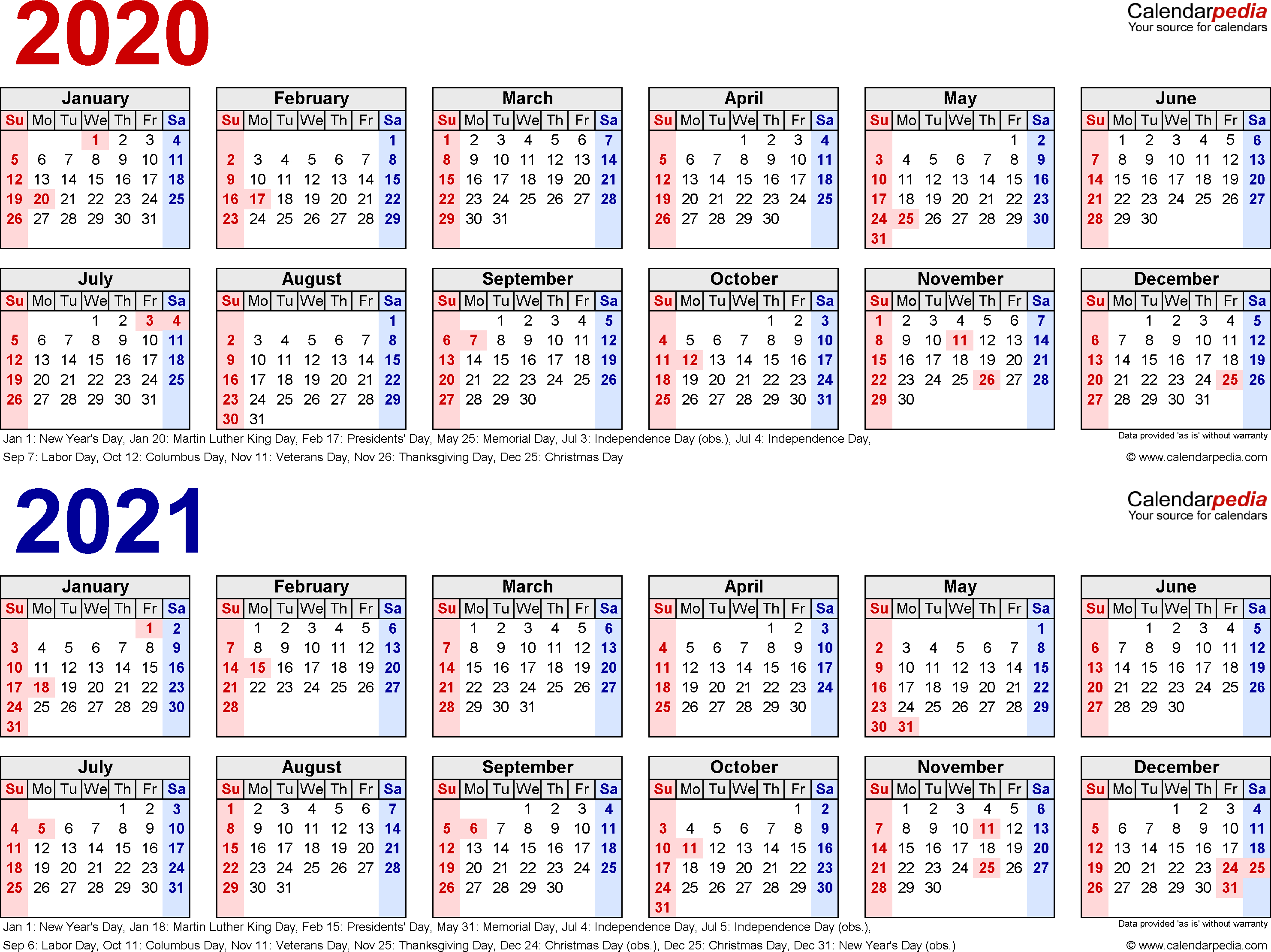 2020-2021 Calendar - Free Printable Two-Year Word Calendars