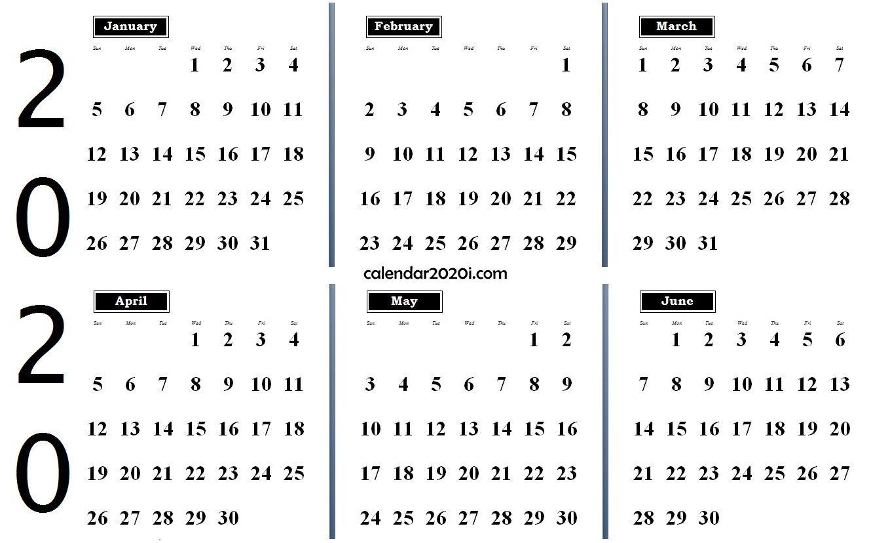 2020 6 Months Calendar From January To June | 2020 Calendars