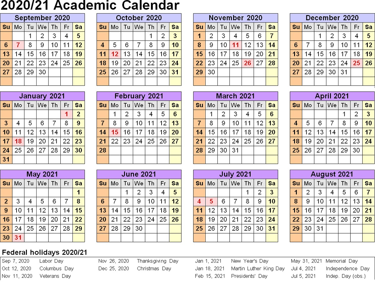2020 Academic Calendar