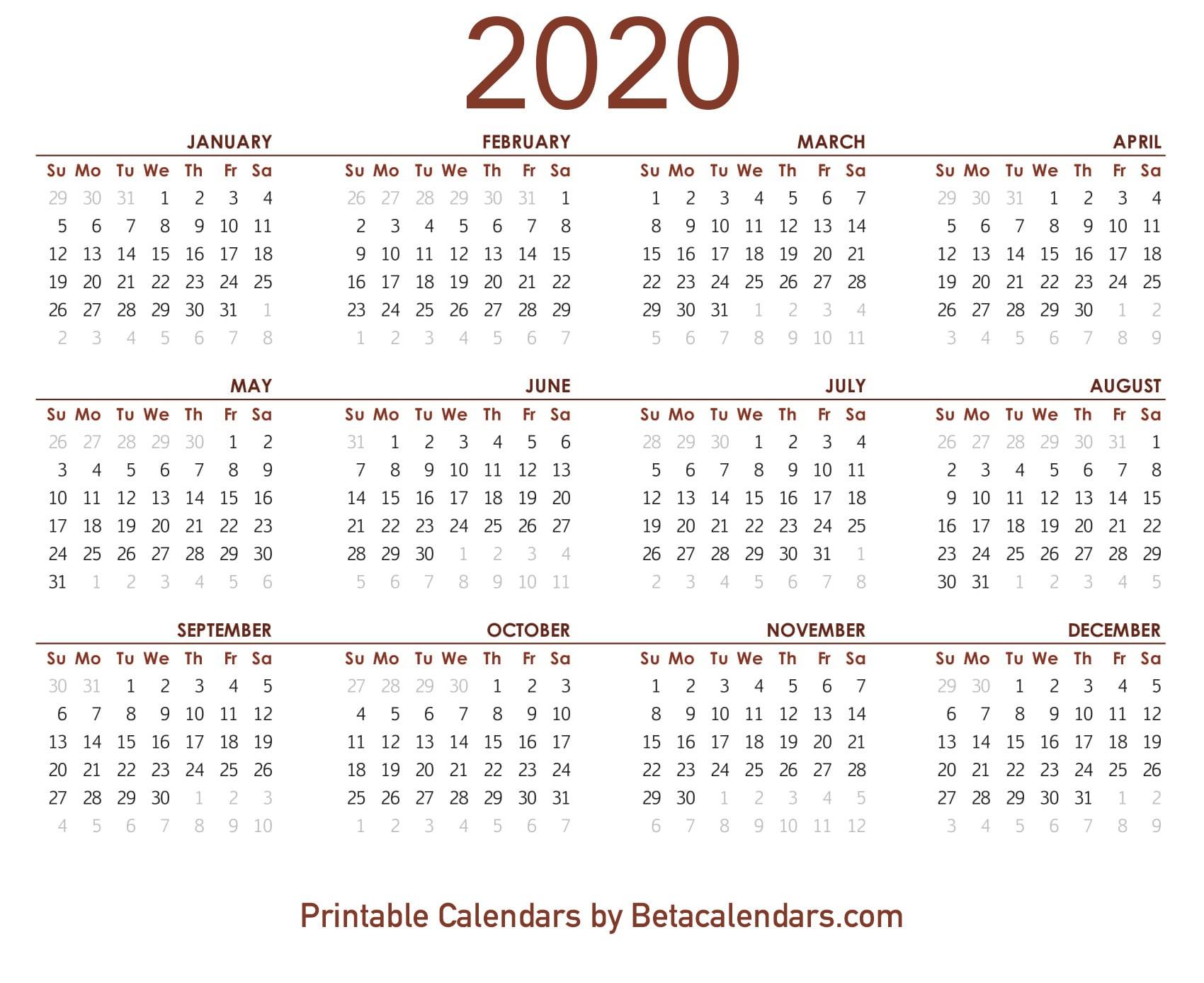 2020 Calendar - Beta Calendars