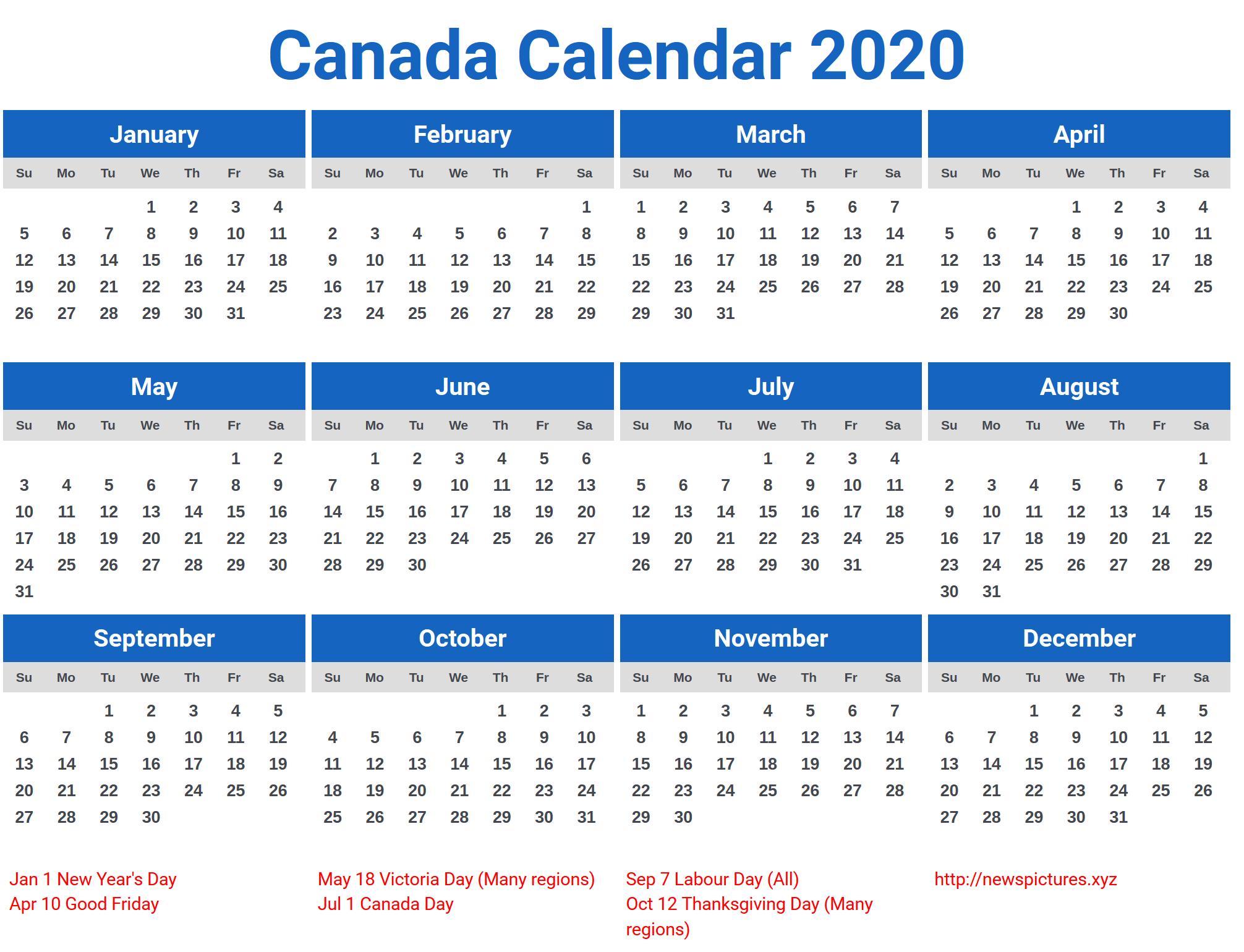 2020 Calendar Canada – Printable Year Calendar