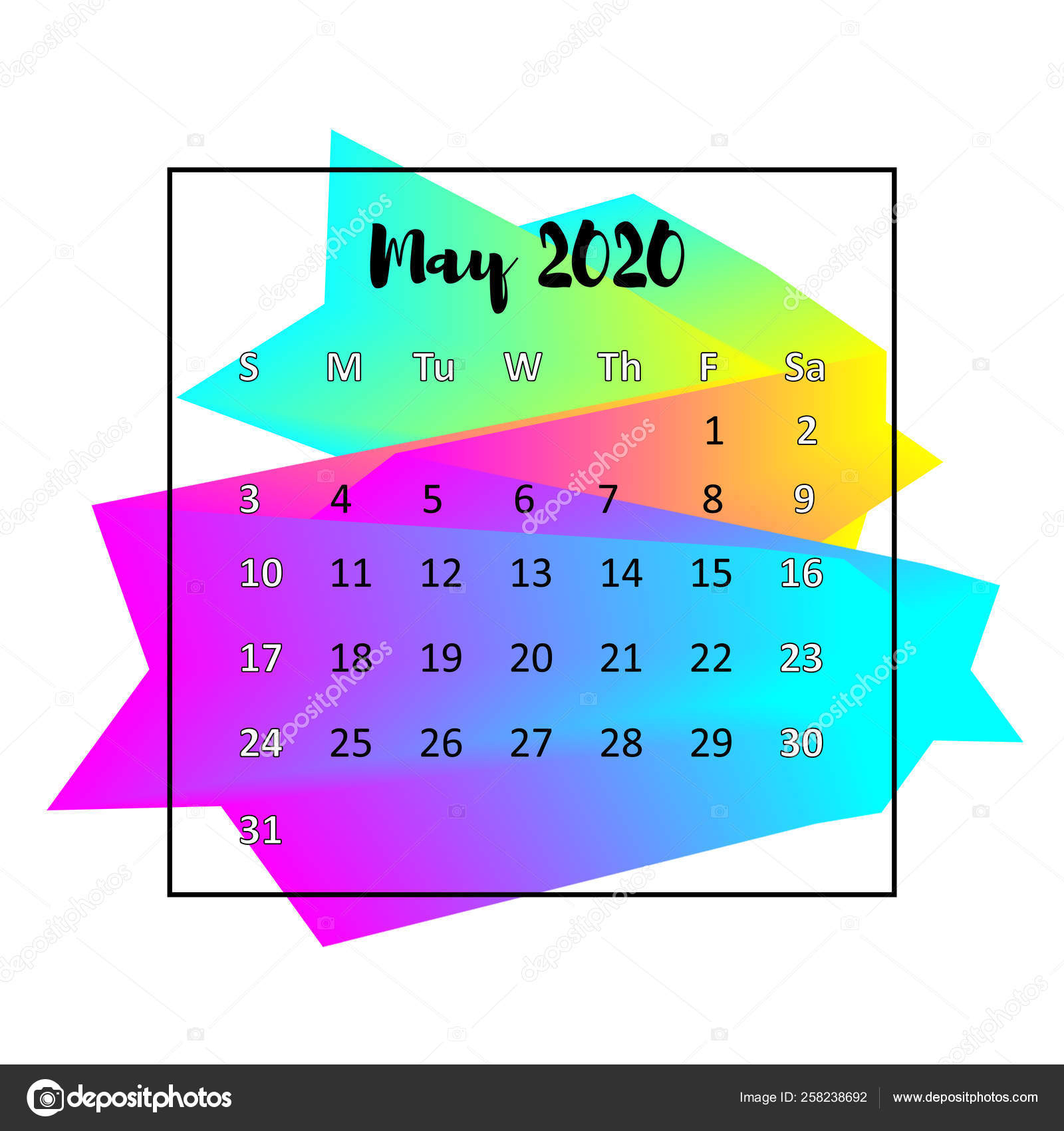 2020 Calendar Design Abstract Concept. May 2020. Business
