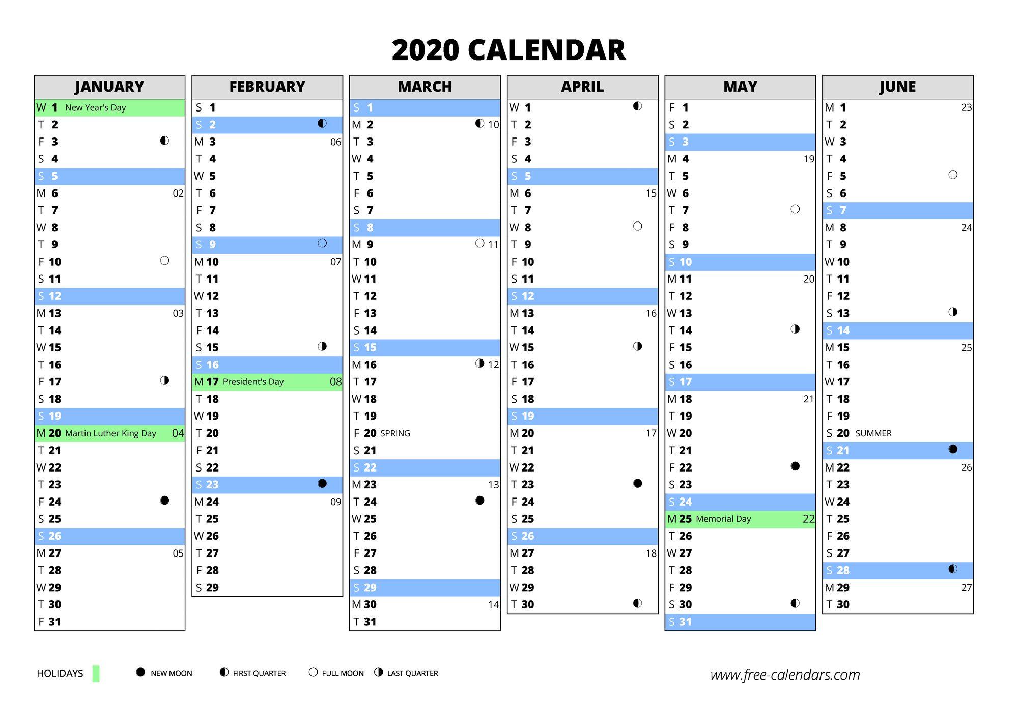 2020 Calendar ≡ Free-Calendars